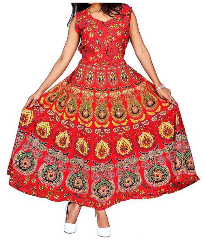 SUNRISE PARIDHAN Cotton Red A- line Dress