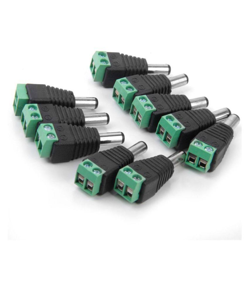 DC Power Connector (Green) Screw Type Male 5.5 X 2.1mm Wire Connector Adaptor Jack for CCTV Camera, [Pack of 50 Pieces Connectors]