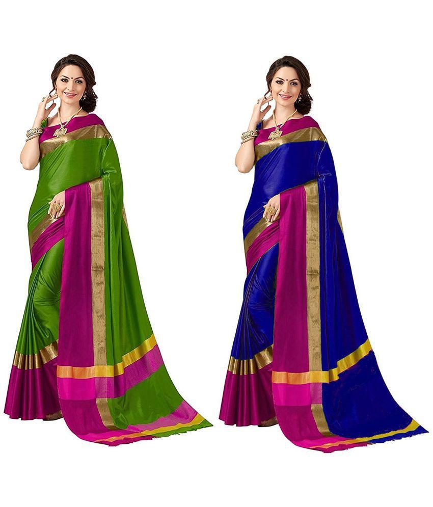 Sunsilk Art Green Cotton Silk Saree Combos