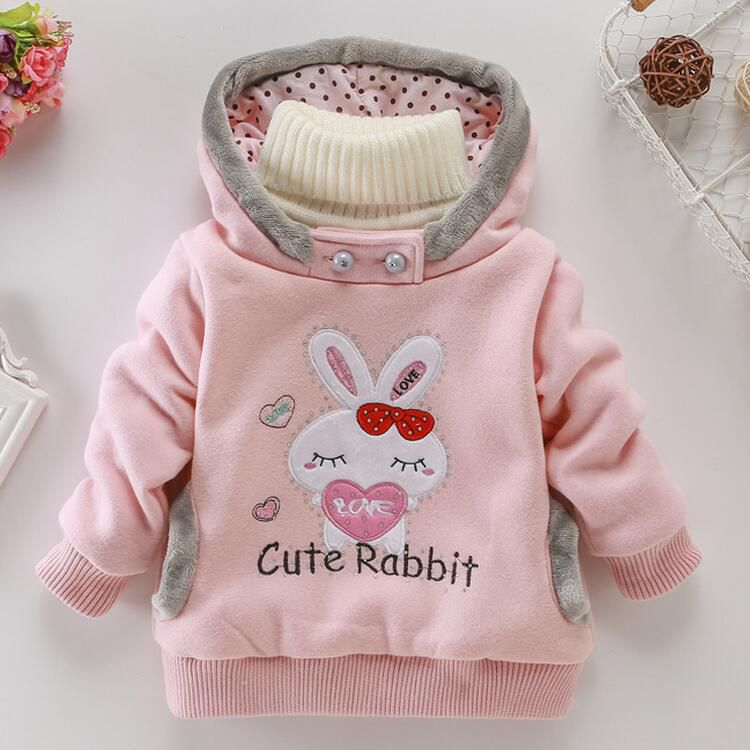 Baby children clothing cartoon rabbit fashion clothes Fleeces jackets girl / jacket with hood / winter jacket children's wear Hoodie