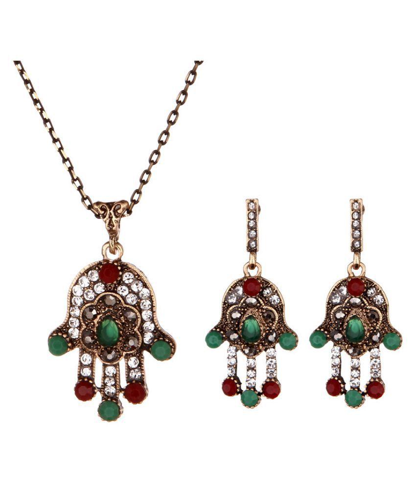 Kamalife Fashion Emerald Diamond Earring Necklace Suit Accessories