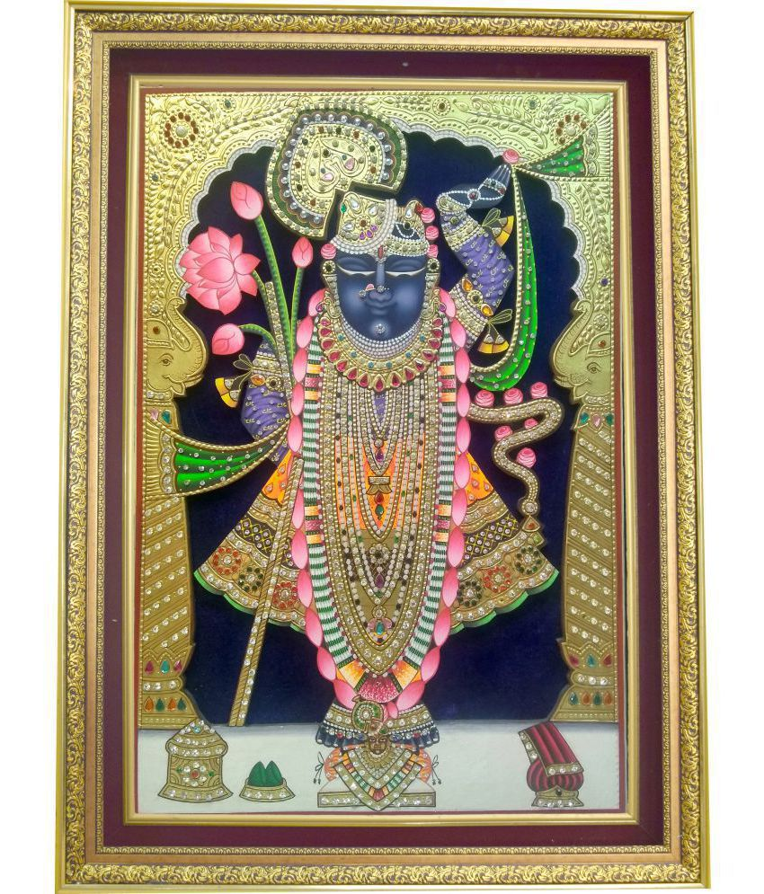 Mukund Arts Shreenathji Rajbhog hand wood painting with gold leaf Wood Painting With Frame