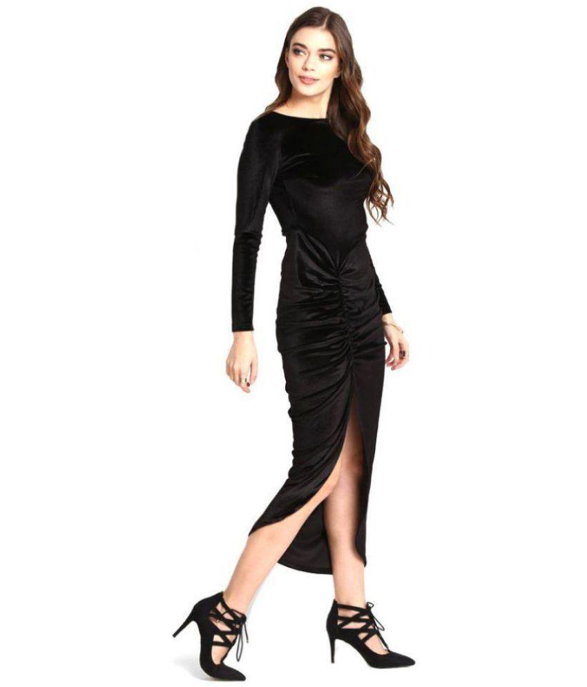 Aashish Fabrics Velvet Black Cut Out Dress