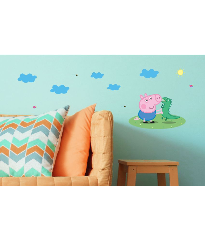 asian paints wall ons peppa pig captain george with mr dinosaur cartoon characters sticker 37 x 104 cms rh snapdeal com