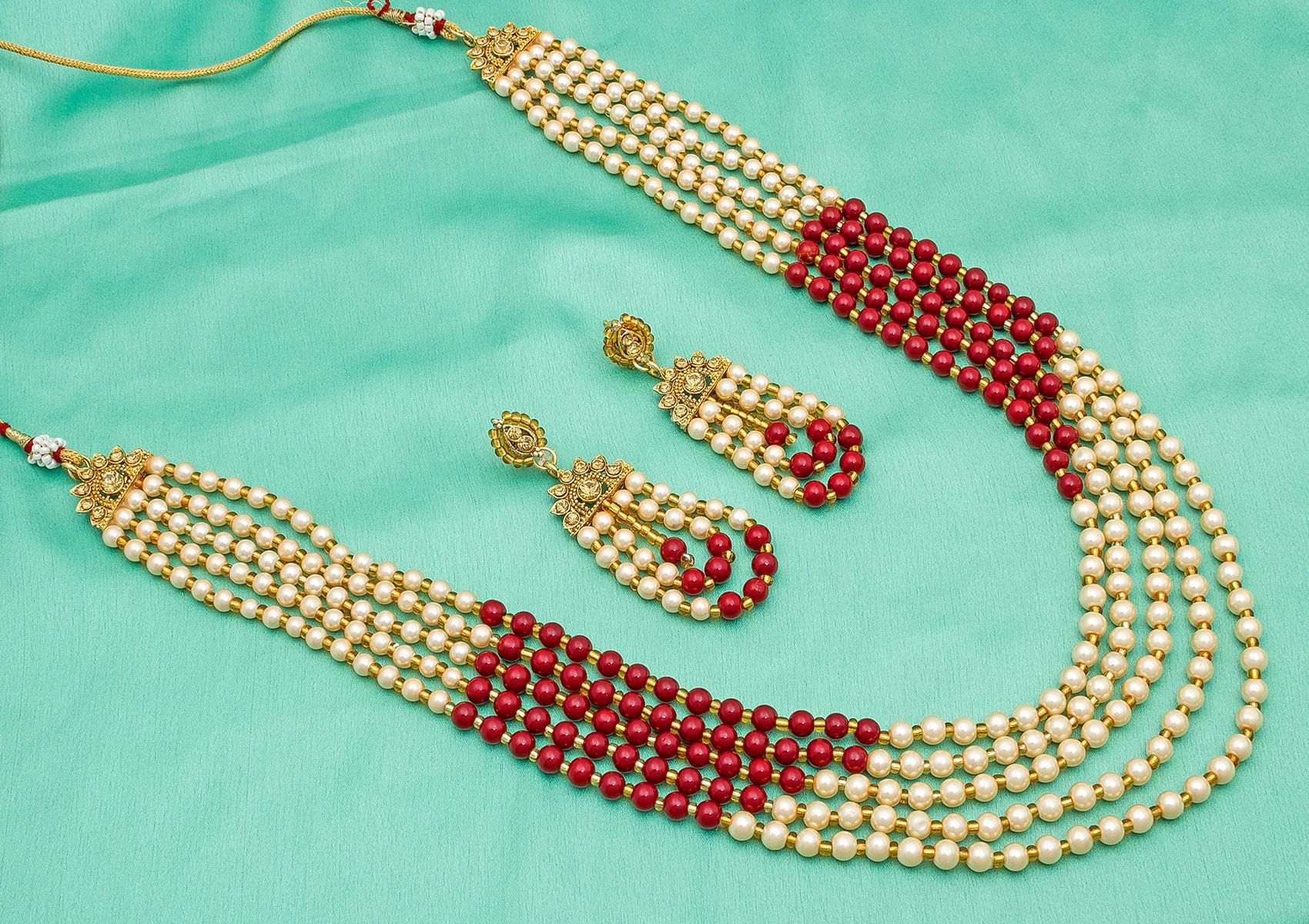 Aadita Pearl Designer Necklace Jewel Set for Women and Girls