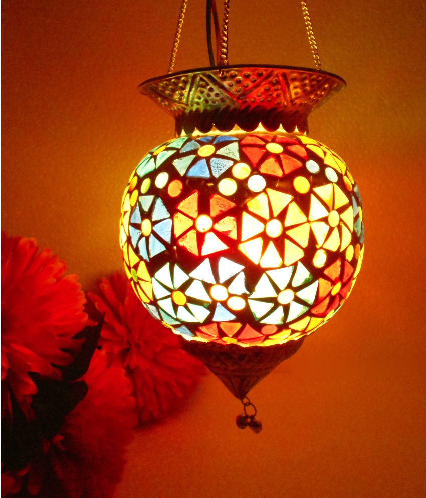 Susajjit Decor Glass Decorative Hanging Lamp Pendant Multi - Pack of 1