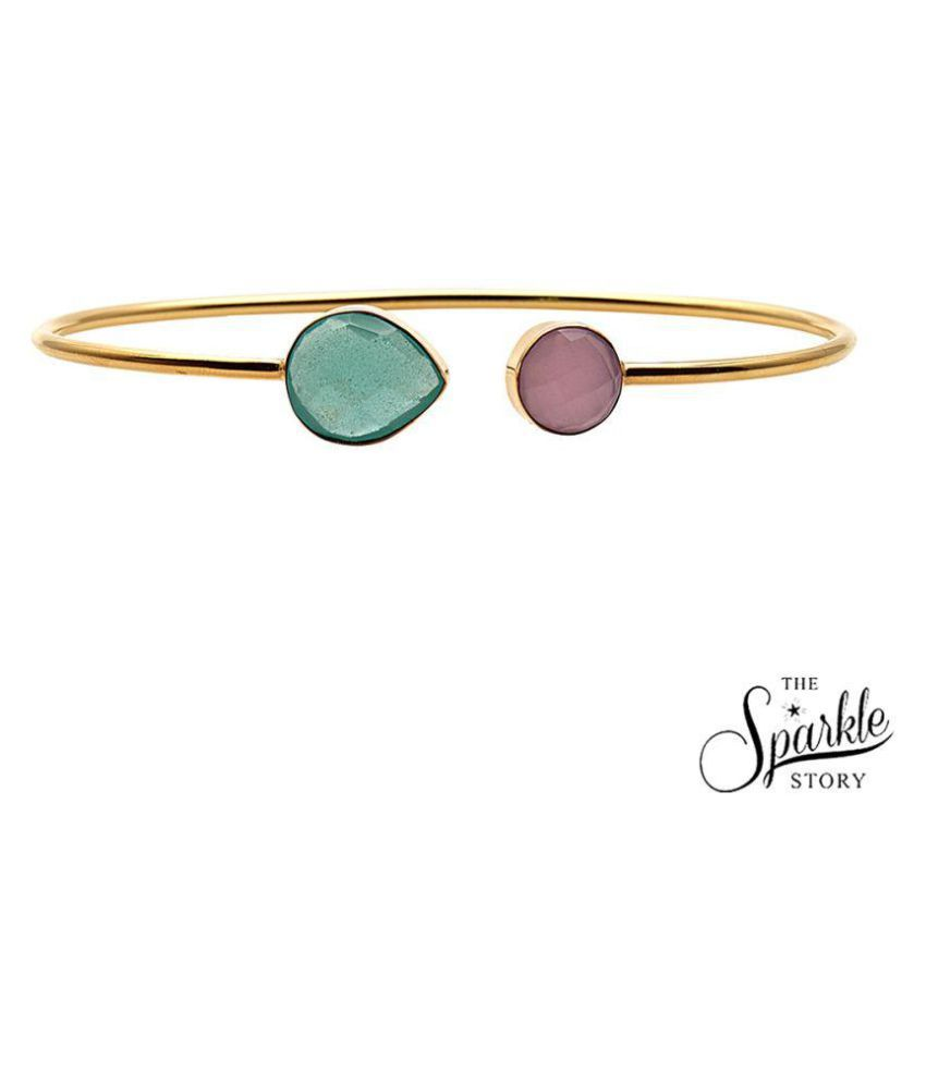 The Sparkle Story Aqua & Rose Chalcedony Gold Plated Round & Pears Shape Adjustable Alloy Bangle Bracelet for Women and Girls