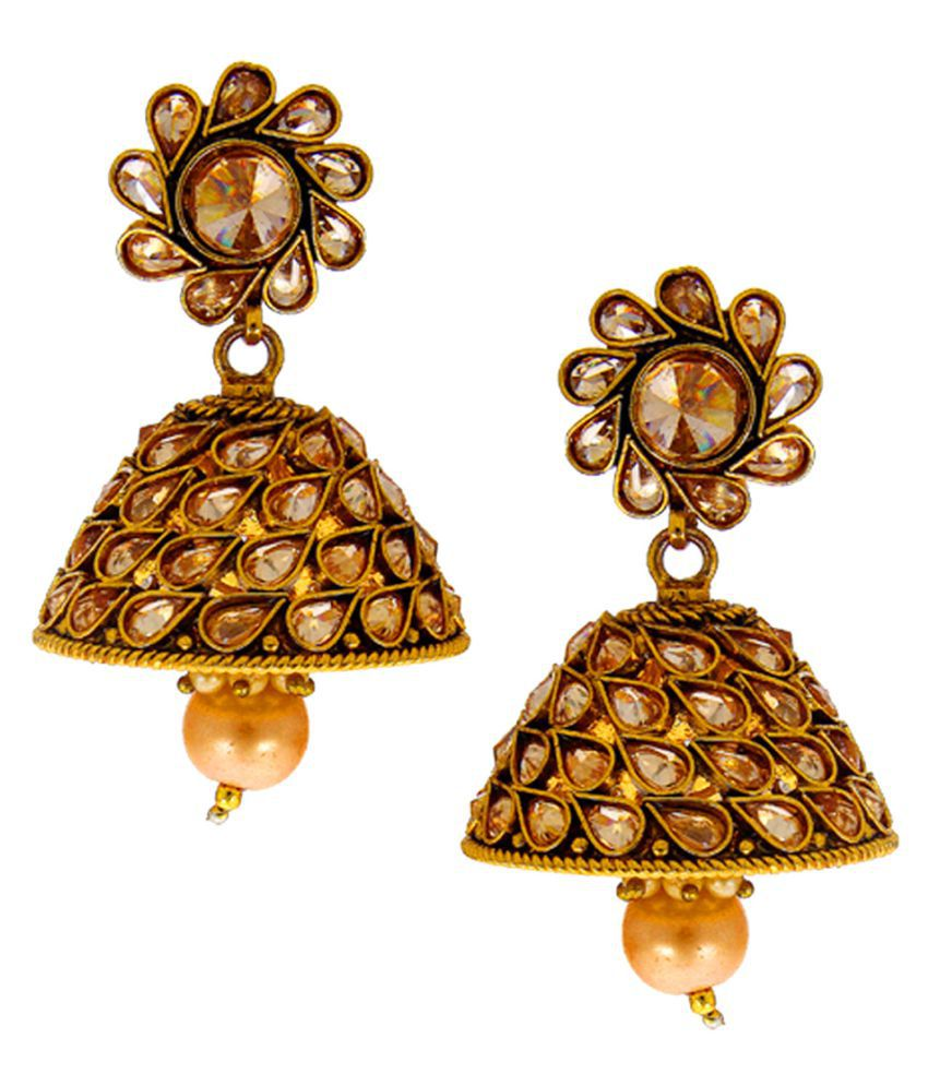 Anuradha Art Presenting This Antique Gold Finish Studded Stone Adorable Jhumka Earrings For Women