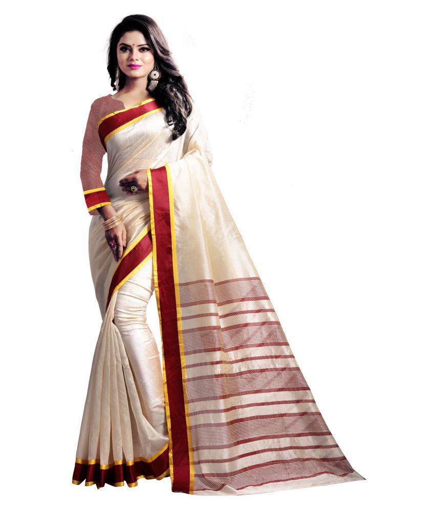 Vkaran Beige Art Silk Saree