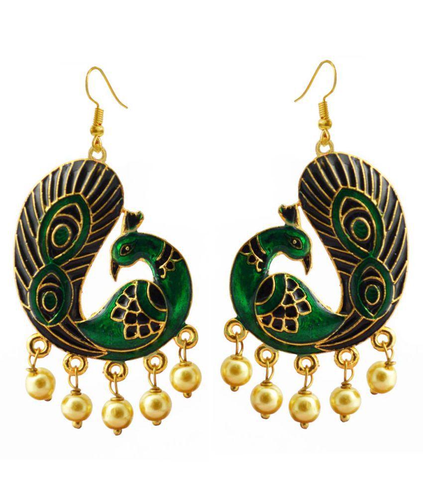 Meenakari Reverse Peacock Danglers Green Black