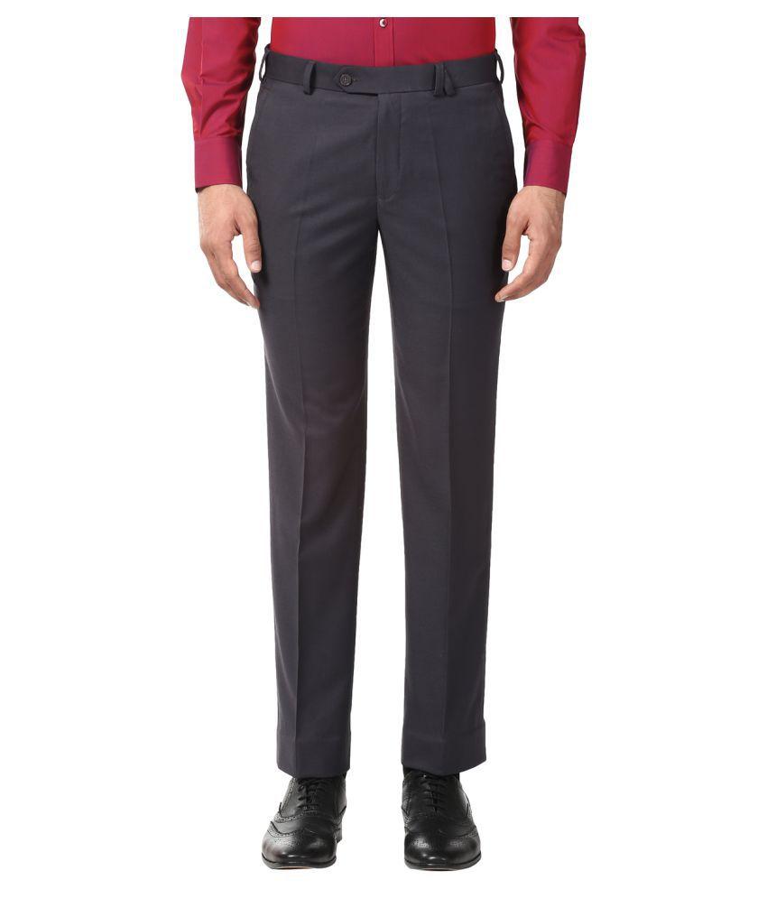 Park Avenue Grey Slim -Fit Flat Trousers