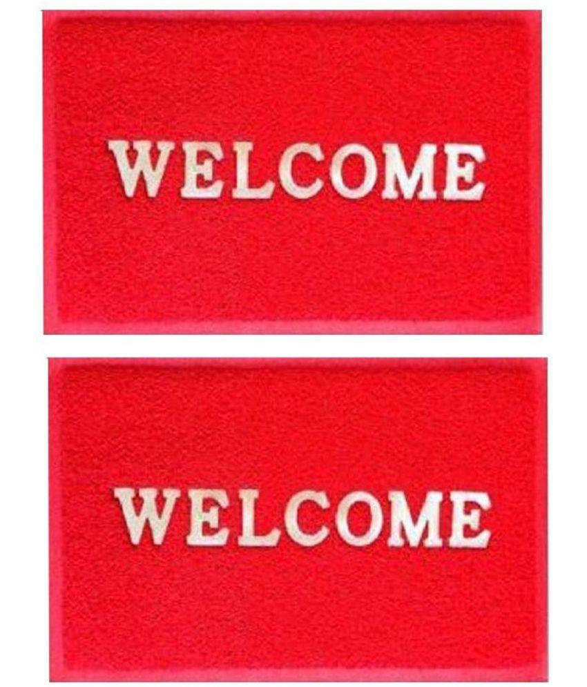 Modern Home Red Set of 2 Anti-skid Floor Mat