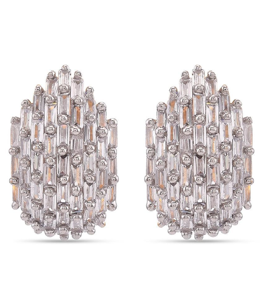 Tistabene Baguette Studded Modern Two Tone Plated Half Hoop Big Stud Earrings | Two Tone Plated Earring | Fashion Jewellery Stud Earring | Light Weight Fancy Daily Wear Party Wear New Latest Trendy Design Stud Earring For Girls And Women (ER-3891)