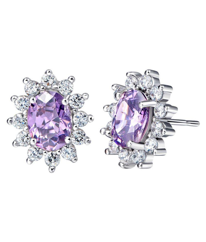 Kamalife Fashion Purple Silver Earrings Accessories