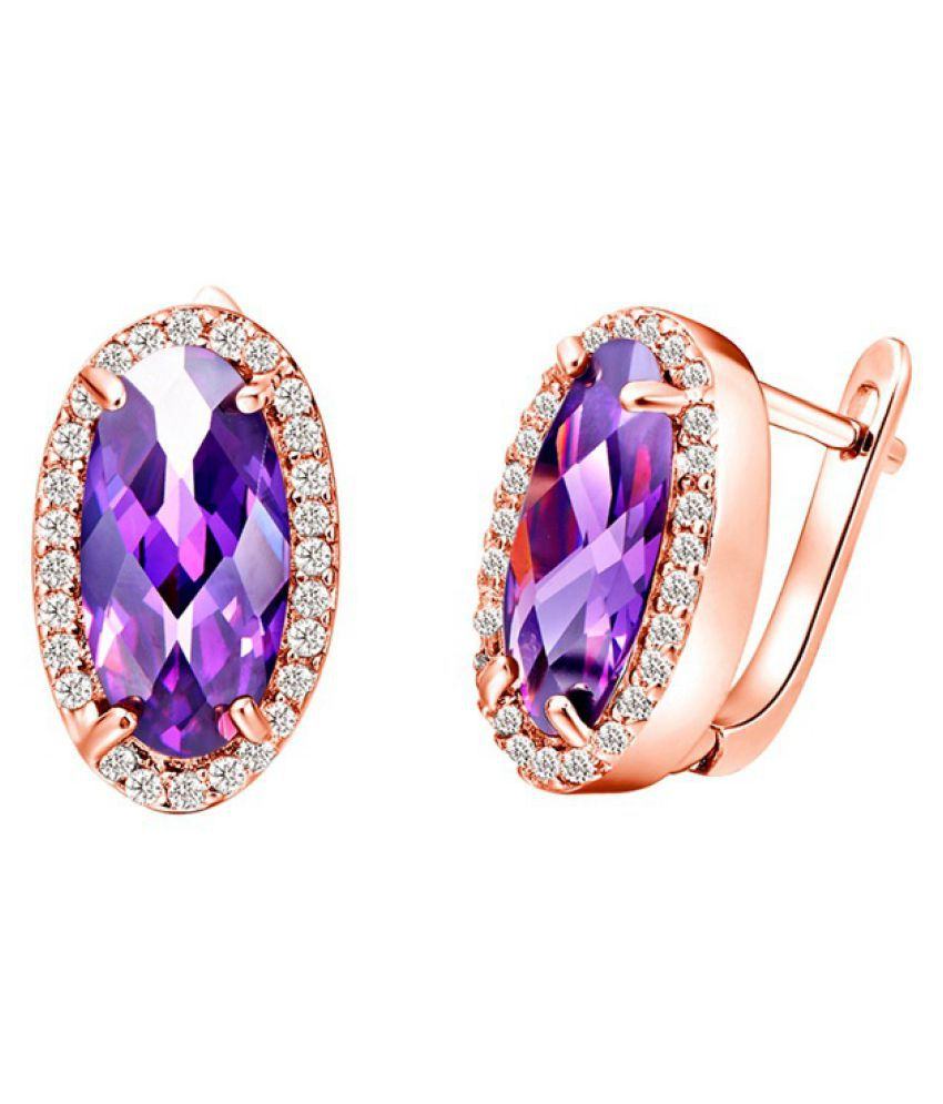 Kamalife Fashion Purple Silver Gem Earrings Accessories