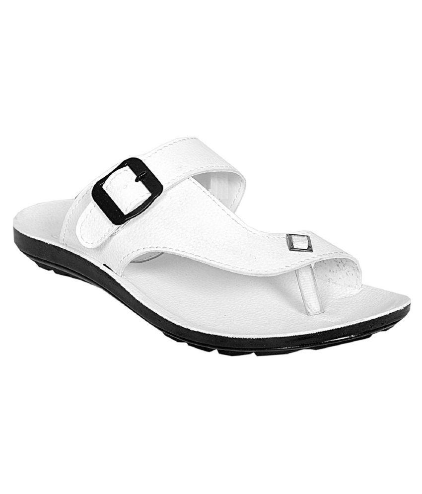 Lakhani Style White Leather Slippers