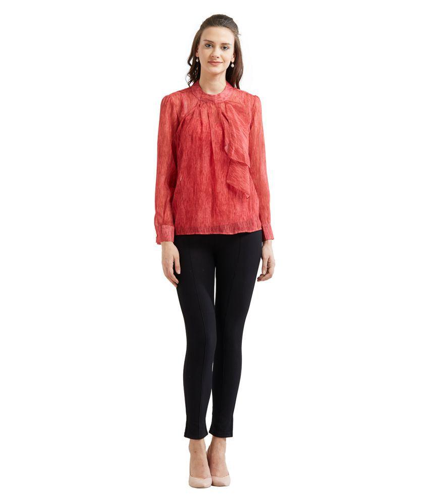 Soie Polyester Regular Tops - Red