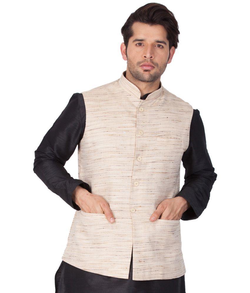 Vastramay Beige Jute Nehru Jacket