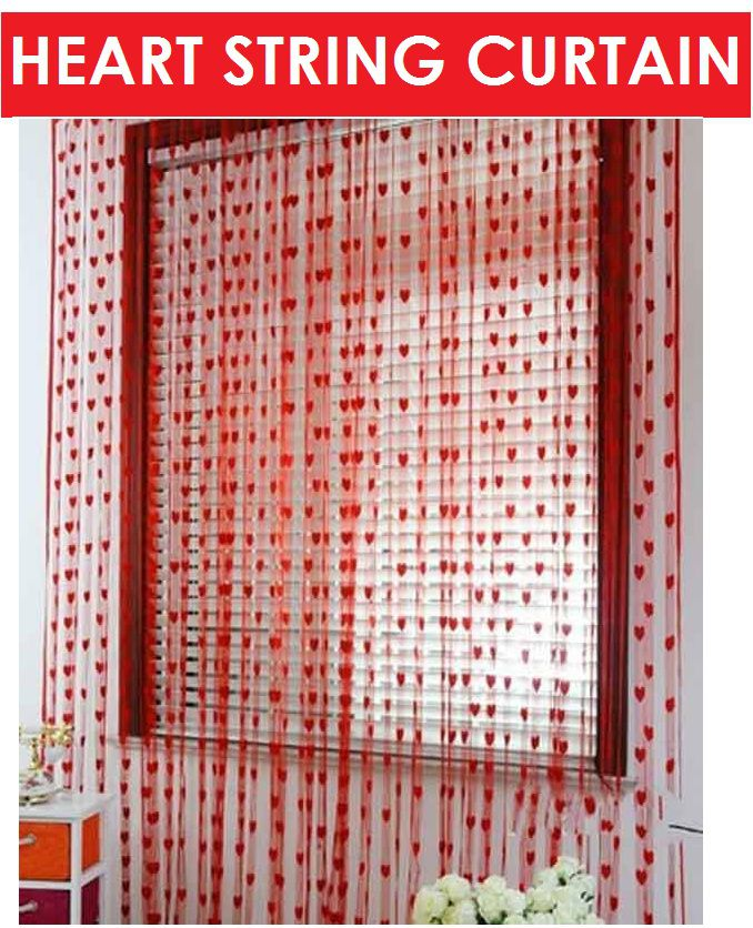 Tanishka Fabs Single Door Red Heart String Curtain (7ft x 4ft)