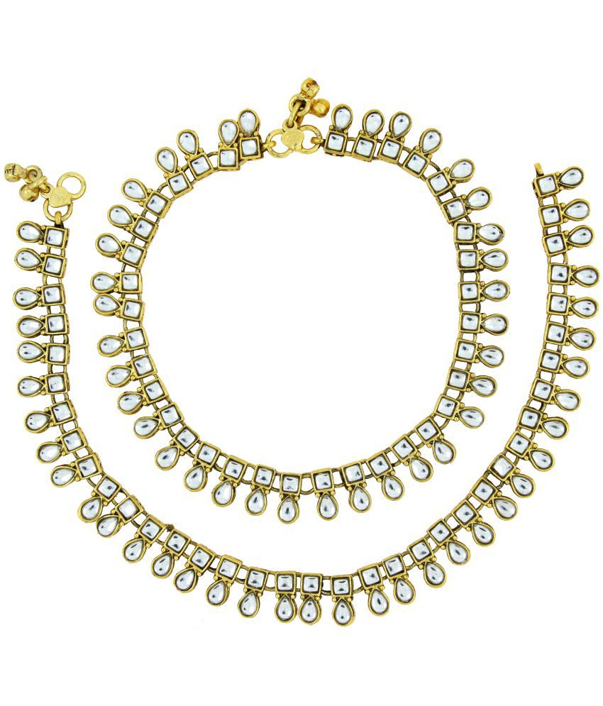 The Jewelbox Antique Traditional Square Drop Kundan Look Pair Of Anklet