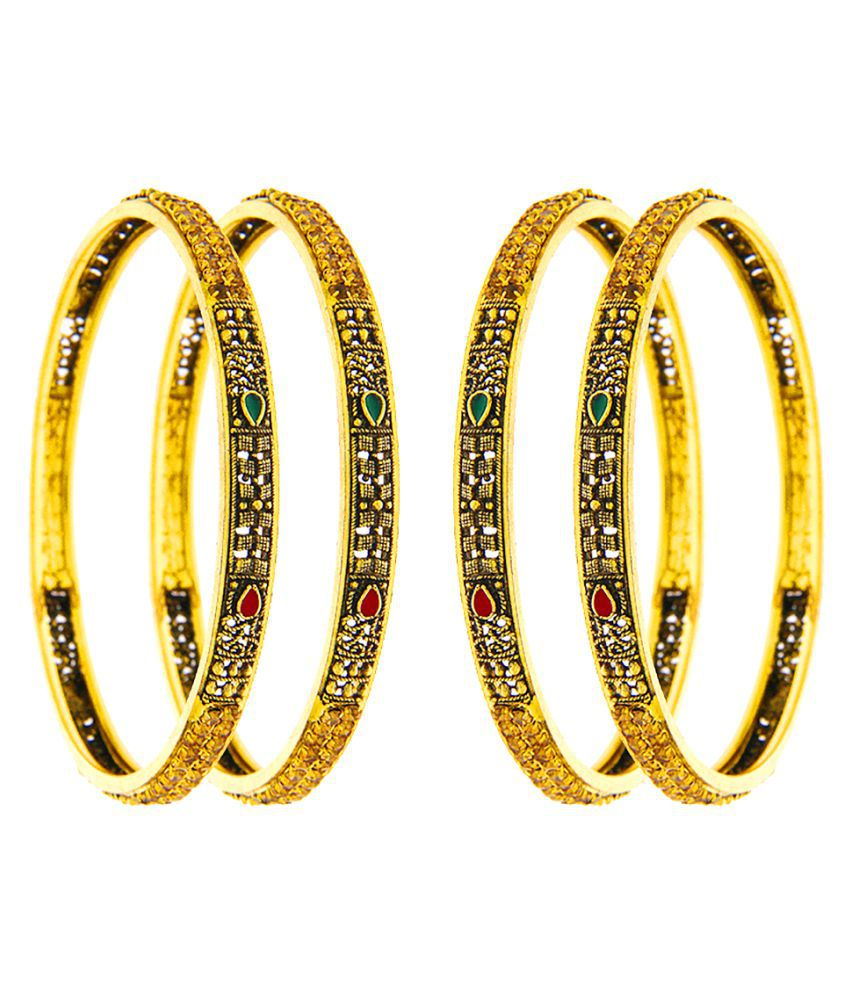Anuradha Art Golden Finish Studded Sparkling Shimmering Stone Traditional Bangles Set For Women/Girls