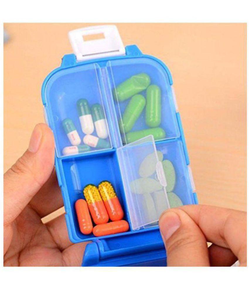Kanha Folca Travel 8 Compartment Pill Box Medicine Tablet Holder Organizer