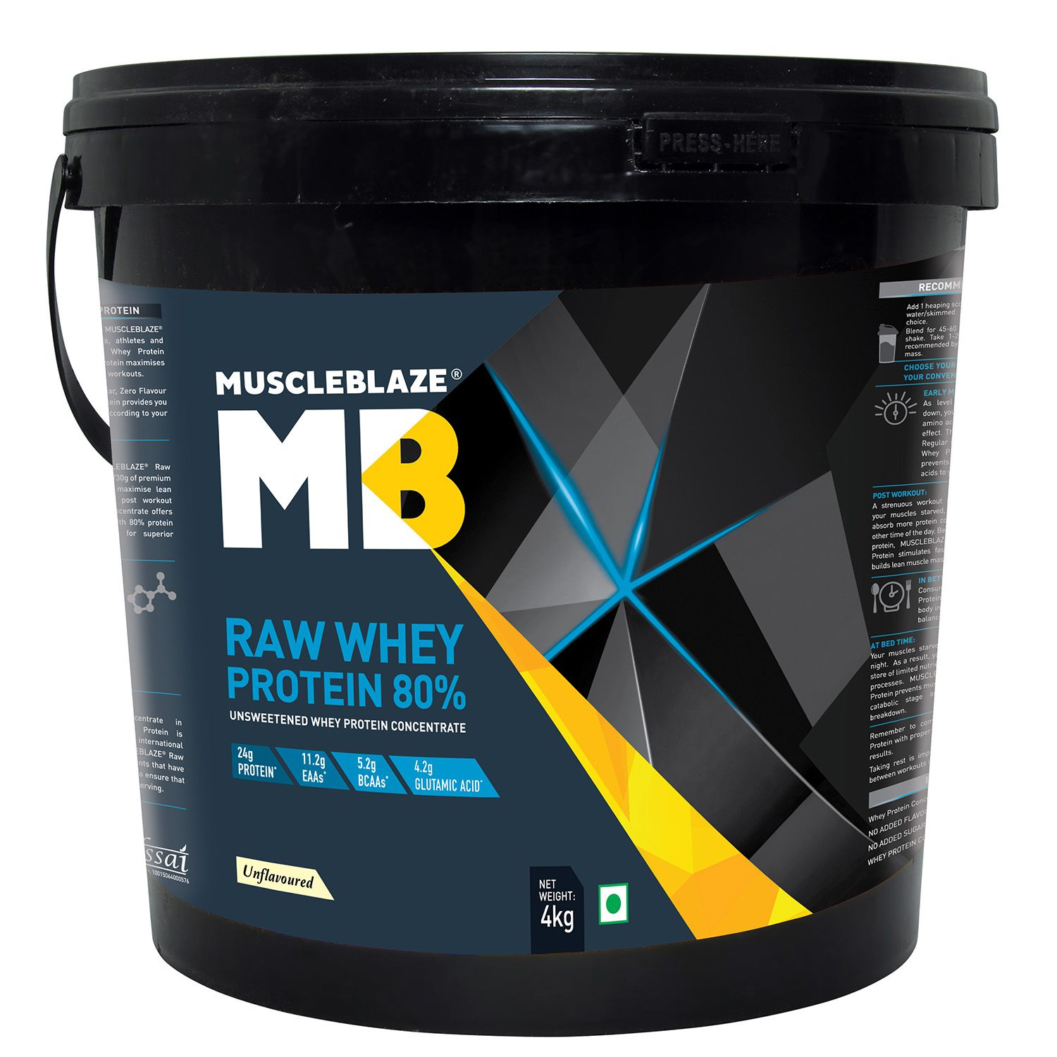 MuscleBlaze Raw Whey Protein, Unflavored 131 Servings, 8.8 lb/ 4 kg