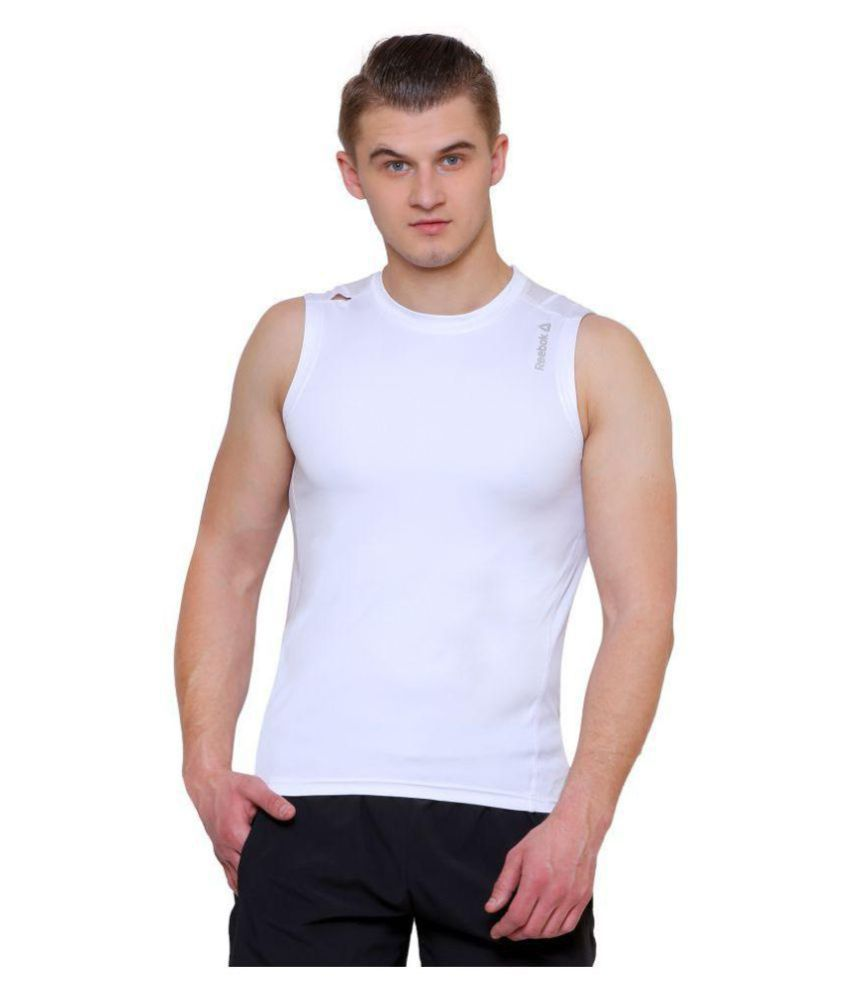 f7fb770d3c2ed6 Reebok White Sleeveless Vests Single - Buy Reebok White Sleeveless Vests  Single Online at Low Price in India - Snapdeal