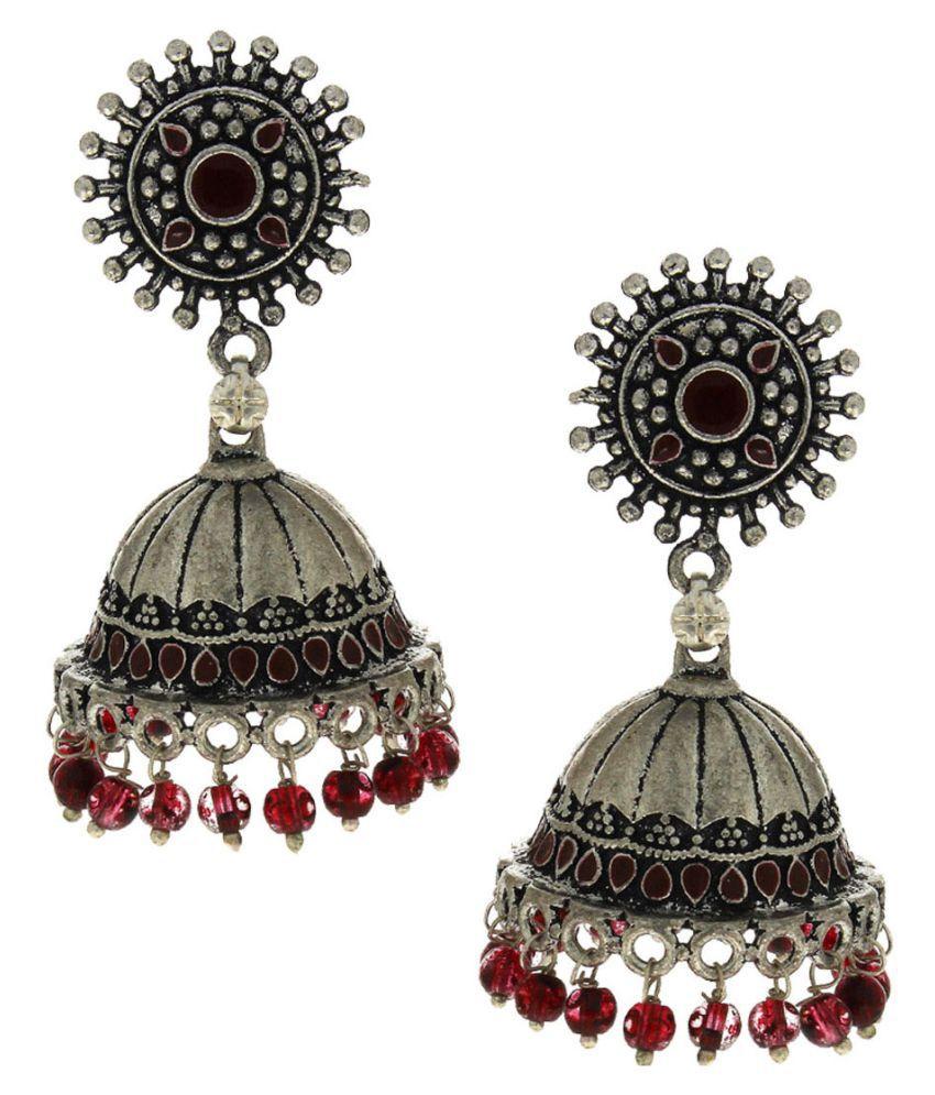Anuradha Art Maroon Colour Navratri Special Wonderful Traditional Jhumkas/Jhumki For Girls Women