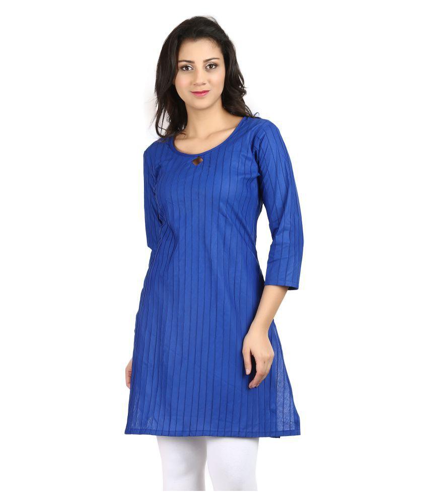 Vaijyanti Blue Rayon A-line Kurti