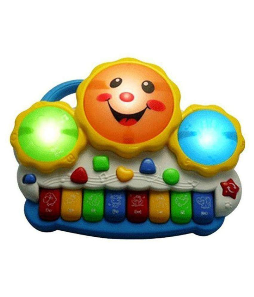 yatri Drum Keyboard Musical Toys With Flashing Lights, Animal Sounds & Songs - Battery Operated Kids Toys