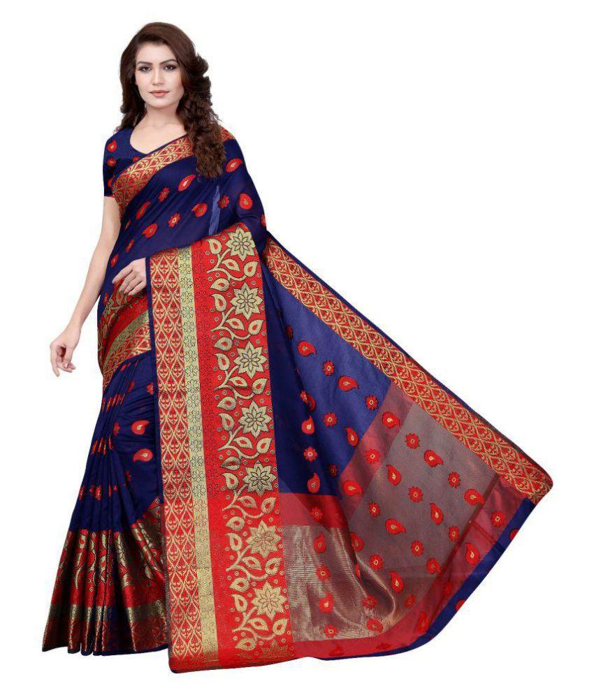 Ethnic Yard Red and Blue Jacquard Saree