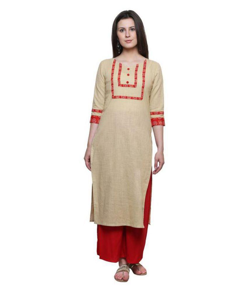 Jaipur Attire Beige Cotton Straight Kurti