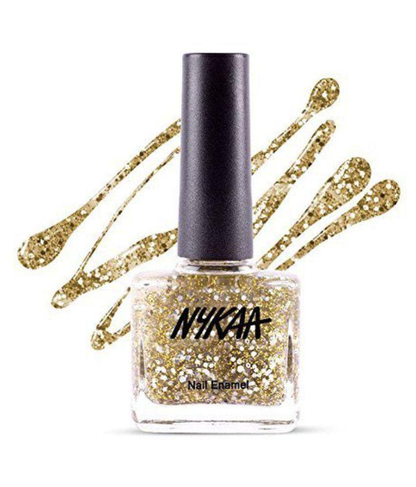 Nykaa Star Studded Glitter Nail Polish - 226 Golden Ticket Coat Nail Enamel 9 ml
