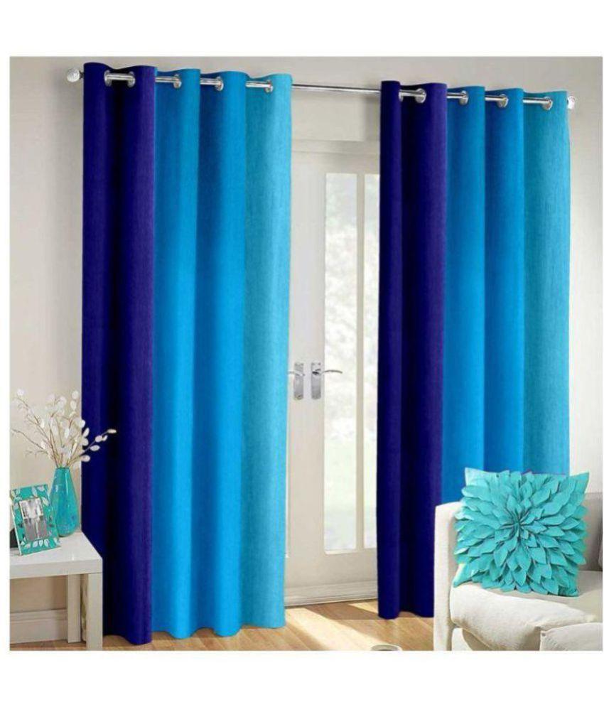 Tanishka Fabs Set of 2 Window Blackout Eyelet Polyester Curtains Blue