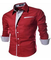 Ud Fabric Red Slim Fit Party wear Shirt