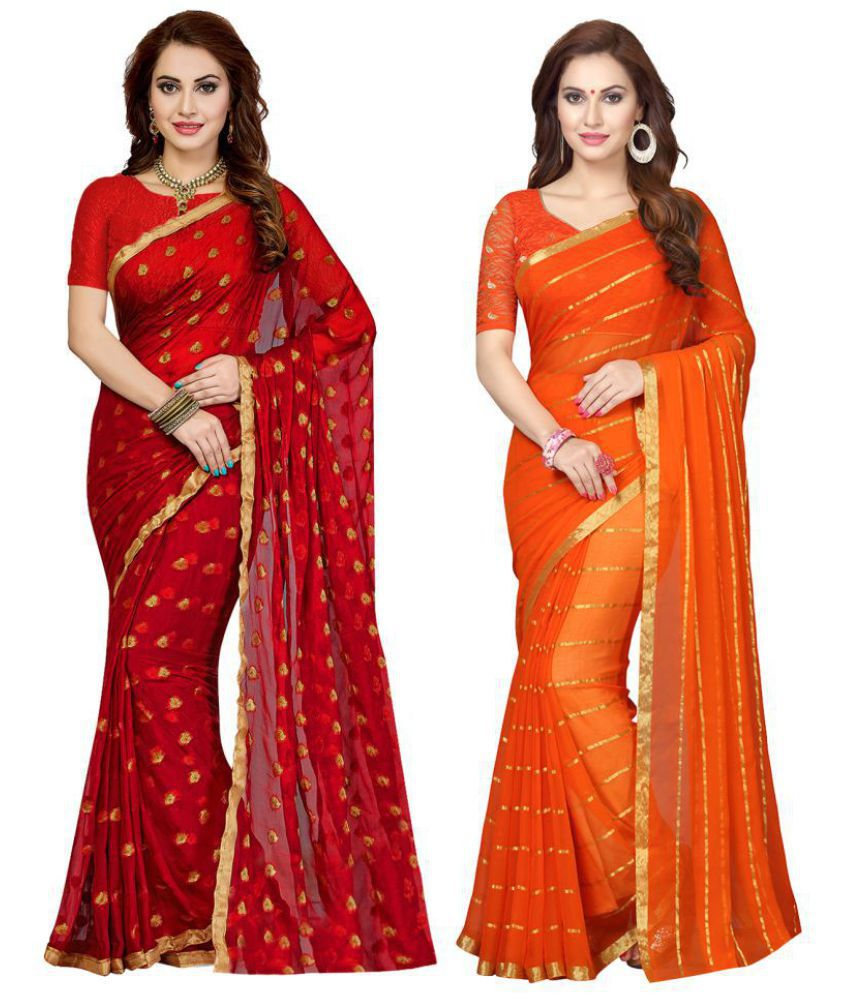 e35c3bc6508 Ishin Multicoloured Chiffon Saree Combos - Buy Ishin Multicoloured Chiffon  Saree Combos Online at Best Prices in India on Snapdeal