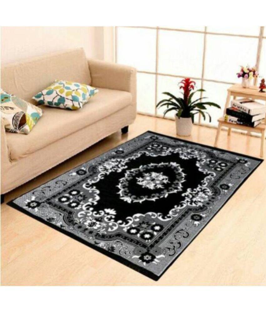 Kaizen Decor Black Velvet Carpet Printed 5X7 Ft.