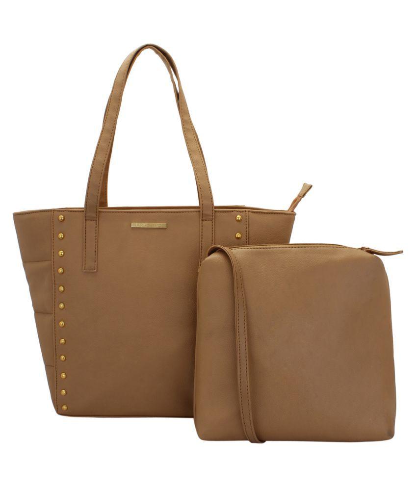 Lapis O Lupo Beige Faux Leather Tote Bag
