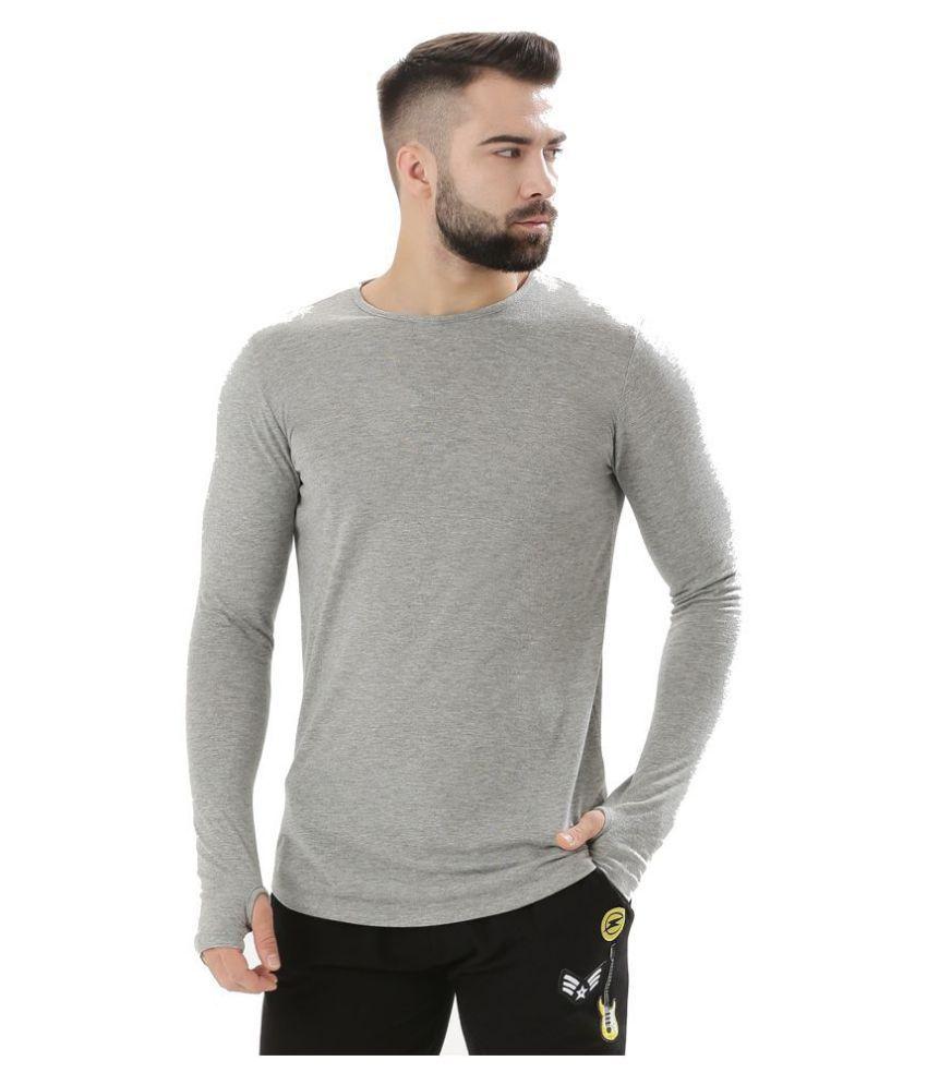 694913849 PAUSE Grey Round thumbhole T-Shirt