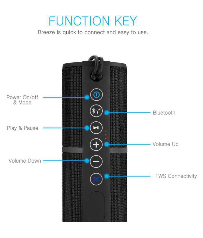 41bced447d9 ... Portronics Breeze POR-795 8W Bluetooth Wireless Stereo Speaker with TWS  Function,FM, ...