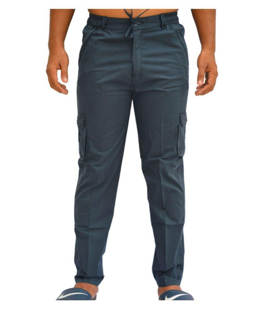Clothonics Blue Slim -Fit Flat Cargos