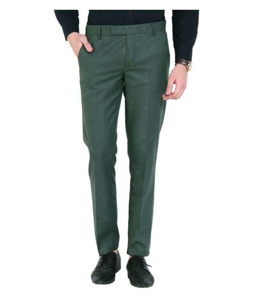 Try This Green Slim -Fit Flat Trousers