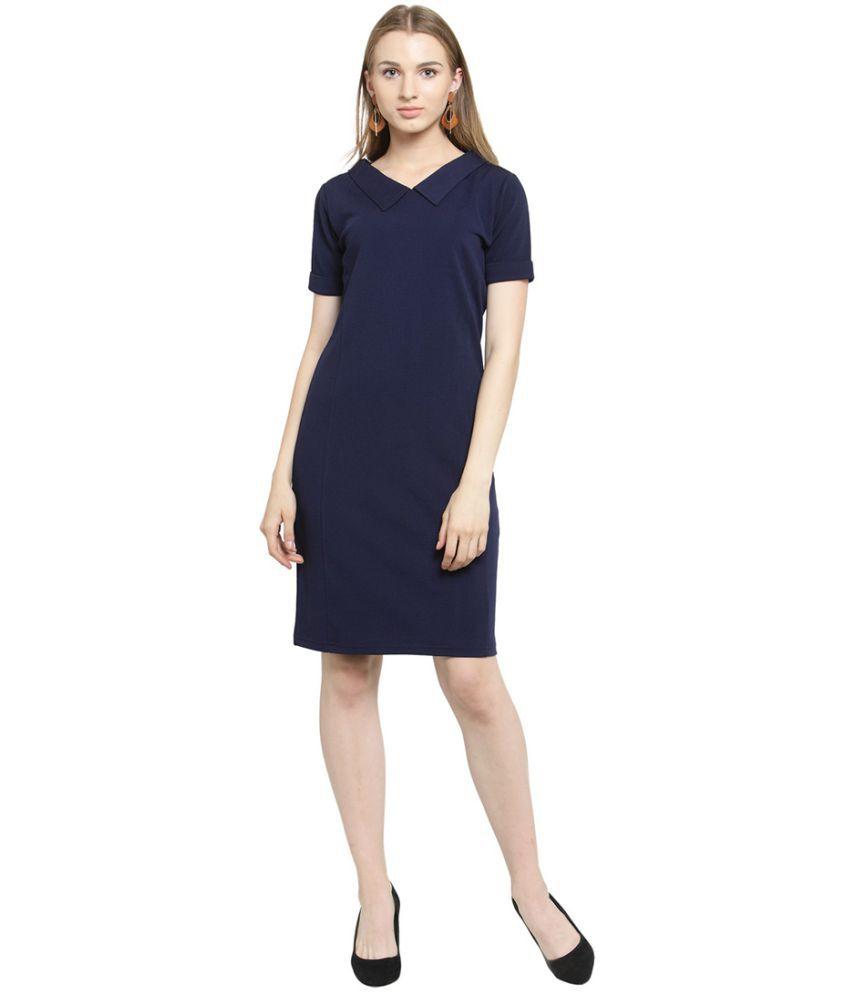 Color Cocktail Polyester Blue A- line Dress