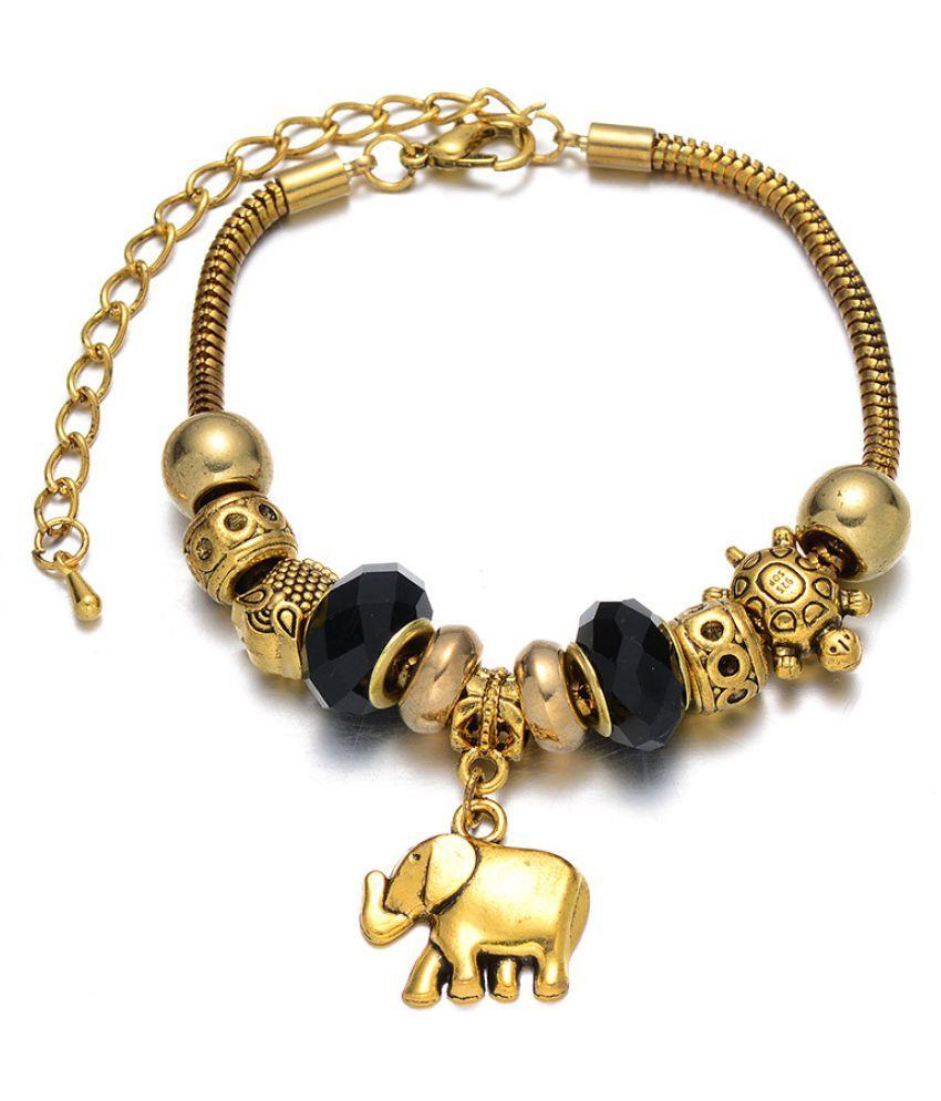 Kamalife Fashion Womens Girls Pandoras DIY String Beads Bracelet Black Alloy
