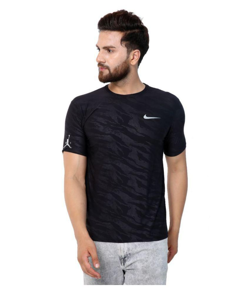 HUMAN CLOTHES Navy Polyester T-Shirt