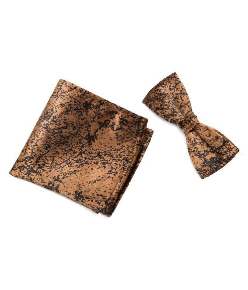 TO THE NINES Men's Red Velvet Bow Tie & Pocket Square (brown)