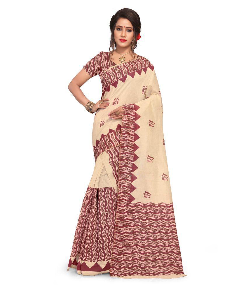 S. Kiran's Beige Cotton Saree