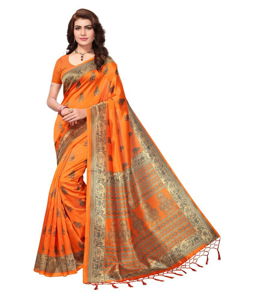 Active Orange and Beige Tussar Silk Saree