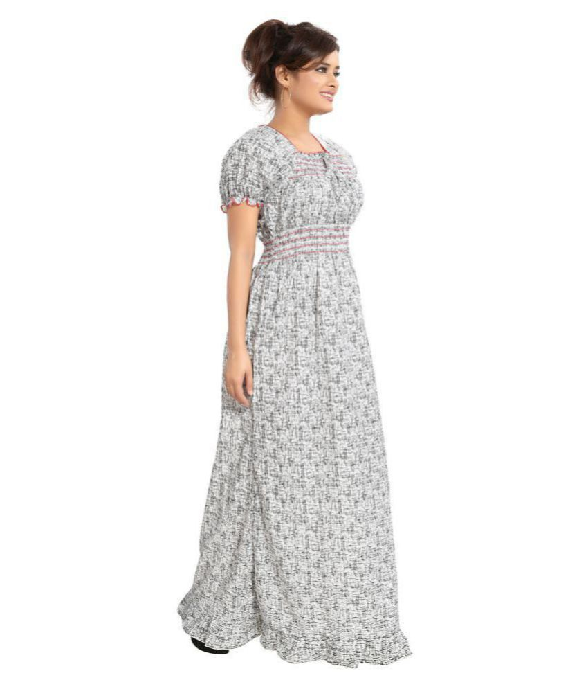 abeb124e2aaa Buy INNER BEATS Cotton Nighty   Night Gowns - Grey Online at Best Prices in  India - Snapdeal